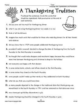 Grades 5-6 We Love Holidays! November Monthly Unit