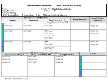 Grades Combined CCSS Aligned Special Education Lesson Plan - Special ed lesson plan template
