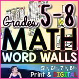 Grades 5-8 Math Word Wall Bundle - print and digital
