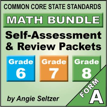 Grades 6-7-8 CCSS Math Self-Assessment and Review BUNDLE
