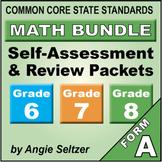 Grades 6-7-8 CCSS Math Self-Assessment BUNDLE { Print & Digital }