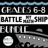 Grades 6-8 Math Activity BUNDLE - Battle My Math Ship