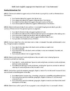 Grades 6-8 Standards & I Can statements ELA
