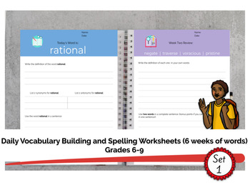 Grades 6-9 Daily Vocabulary Building Worksheets (6 weeks of work - set 1)