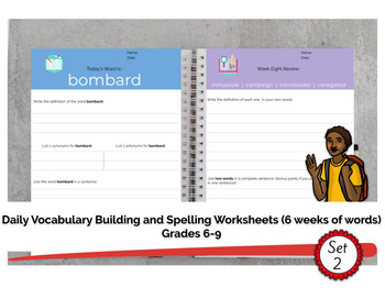 Grades 6-9 Daily Vocabulary Building Worksheets (6 weeks of work - set 2)