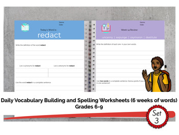 Grades 6-9 Daily Vocabulary Building Worksheets (6 weeks of work - set 3)