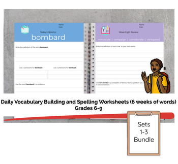 Grades 6-9 Daily Vocabulary Building Worksheets Bundle (18 weeks) Save 20%