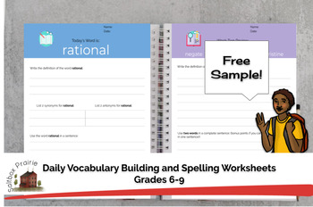 Grades 6-9 Daily Vocabulary Building Worksheets Free Sample