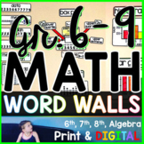 Grades 6-9 Math Word Wall Bundle - print and digital