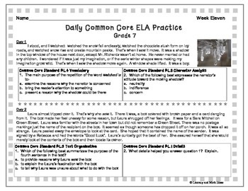 Grades 7-8 Daily Common Core Reading Practice Weeks 11-20