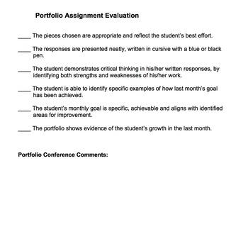 Grades 6, 7 & 8 Monthly Portfolio - Assignment & Rubric For Conferences