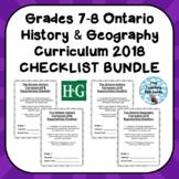 Grades 7-8 ONTARIO HIS & GEO CURRICULUM 2018 EXPECTATIONS CHECKLISTS BUNDLE