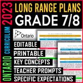 EDITABLE Long Range Plans Ontario | Split Grades 7 and 8 | New Math 2020 | SALE!