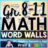 Grades 8-11 Math Word Wall Bundle