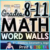 Grades 8-11 Math Word Wall Bundle - print and digital