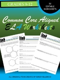Distance Learning: Grades 9-12 ELA Common Core Aligned Worksheets