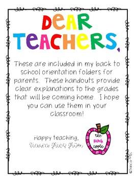 Grades Explained:  Back to School Parent Handout FREEBIE
