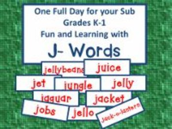 J-Words - A Common Core Aligned Full Day For Your Sub