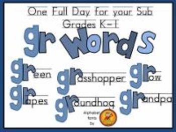 Grades K-1 Full Day Emergency Sub Plans/Gr Words Theme