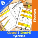 Grades K-1 Syllable Sort: Closed and Silent-E Syllables