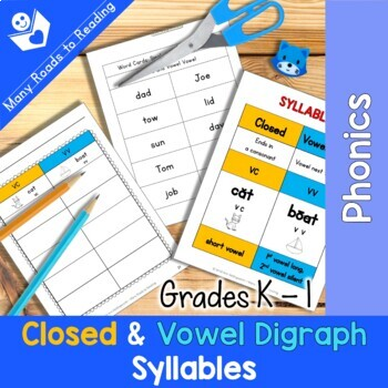Grades K-1 Syllable Sort: Closed and Vowel Vowel Syllables