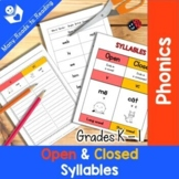 Open and Closed Syllable Sort Grades K-1