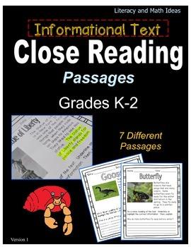 (Grades K-2) Informational Text Close Reading Passages
