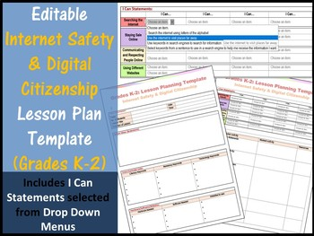 Grades K-2: Internet Safety Editable Lesson Plan Template (I Can Statements)