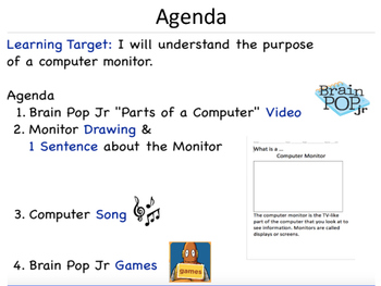Grades K-2 Parts of a Computer: Lesson 1 Monitor