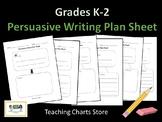 Grades K-2 Persuasive Essay Writing Plan Sheet (Lucy Calkins Inspired)