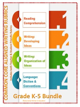 Grades K-5: Bundled Teacher Friendly Common Core Aligned Writing Rubrics