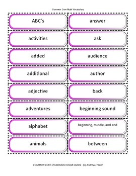 Grades K-8 Common Core Standards ELA Vocabulary Cards over 1500 cards