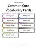 Grades K-8 Common Core Standards Math Vocabulary Cards 1500 cards