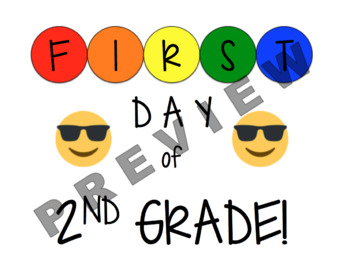 Grades Pre-K to 8 First Day of School Signs with Emojis