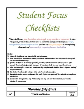 student focus checklist by wendy wakefield teachers pay teachers