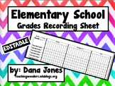 Grades Recording Sheet for Elementary School