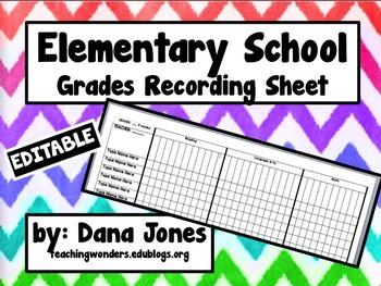 Grades Recording Sheet for Elementary School