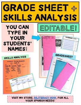 Grade Sheet and Skills/Standards Analysis EDITABLE!