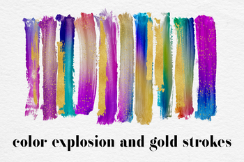 Gradient And Gold Brush Strokes