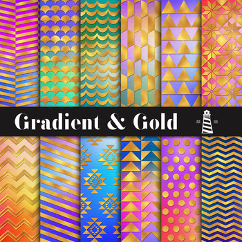 Gradient And Gold Digital Paper