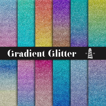 Gradient Glitter Digital Paper, Sparkle Backgrounds, Shiny Paper