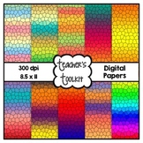 Gradient Stained Glass Digital Background Papers {8.5 x 11