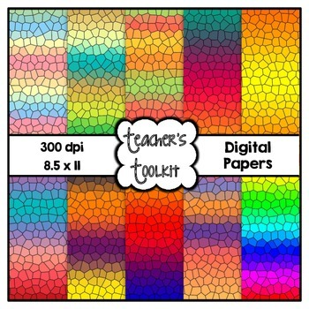 Gradient Stained Glass Digital Background Papers {8.5 x 11} Clip Art CU OK