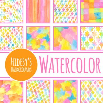 Gradient Stars Watercolor Digital Papers / Backgrounds Clip Art Set