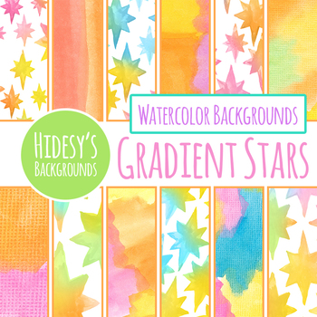 Gradient Stars Watercolor Digital Papers / Backgrounds Clip Art Set
