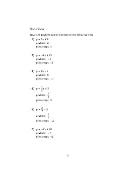 Gradient and y-intercept of a straight line 2