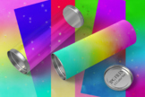 Gradient watercolor rainbow papers with gold stars