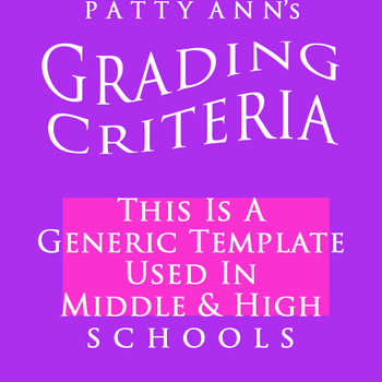 Grading Criteria Syllabus ~ Generic EDITABLE Template for Middle & High Schools
