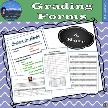 Grading Forms - The Basic Day to Day Forms for Grading