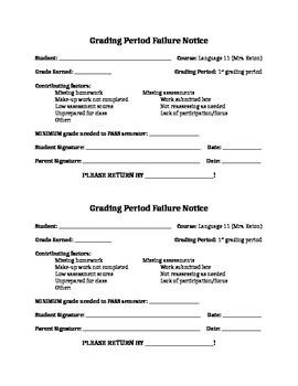 Grading Period Failure Notice